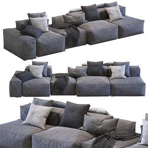 3D bonaldo sectional sofa peanut model