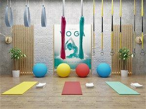 3D yoga studio set