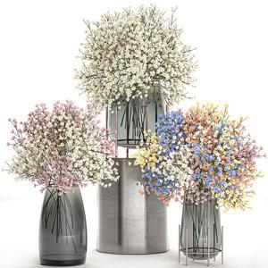 decorative bouquet flowers vase 3D model