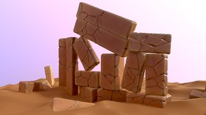 stylized cartoon rock sand 3D model