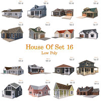 House Of  Set 16 Low Poly 3D Model Houses
