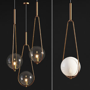 3D model pendant lamp loop brass