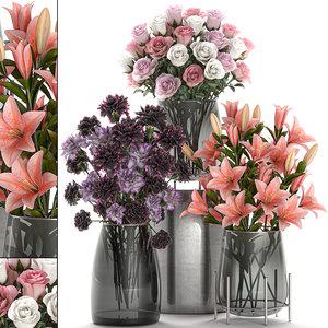 decorative bouquets flowers vase 3D model
