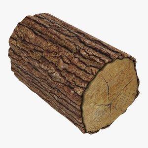 wooden log 01 3D