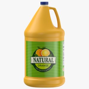 3D orange juice gallon jug
