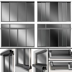 3D model sliding metal automatic door