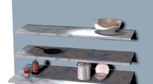 decor floating shelves 3D model