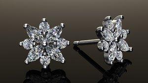 3D diamond cluster earring model