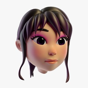 lovely cartoon girls head 3D model