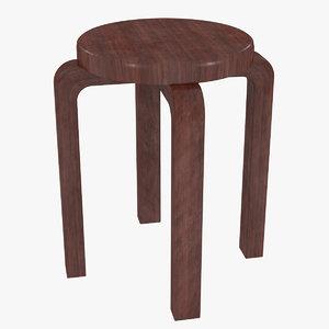 3D minimalist mahogany artek alvar aalto model