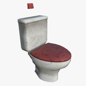 3D toilet dirt subdivisions crease model