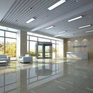 modern office hall 3D