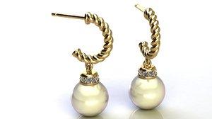 3D model hoop earring diamonds pearl