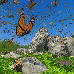 butterflies flock fly 3D
