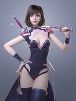 CG Woman girl warrior beauty female character Low-poly 3D model(1)