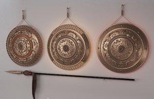 3D copper shield spear