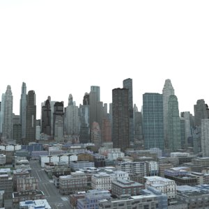 3D cityscape office buildings model