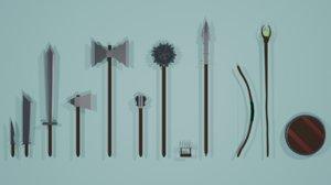 3D dagger weapon
