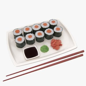 3D realistic sushi plate model
