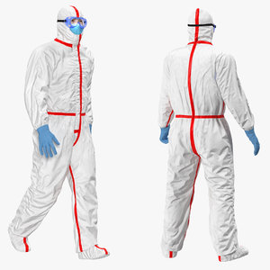 chemical protective suit rigged 3D model