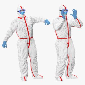 3D chemical protective suit rigged model