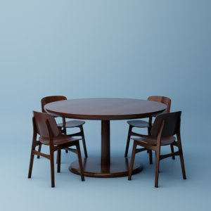 soborg chairs table 3D
