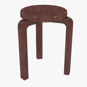 minimalist mahogany artek alvar aalto 3D model