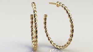 3D cable hoop earrings