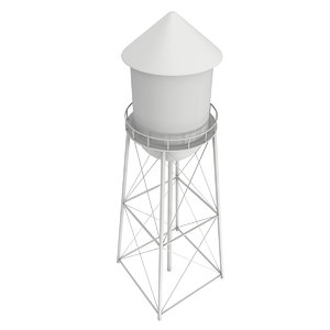 3D water tower industrial construction
