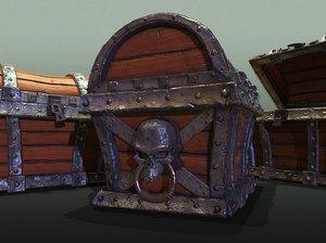 3D ready skull pirate treasure model
