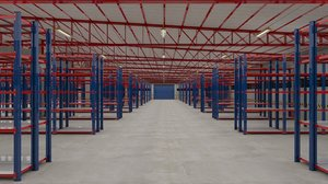 3D model warehouse factory packing