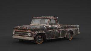 3D rusty pickup old model