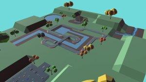 3D model race track low-poly