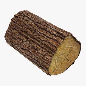wooden log 06 3D