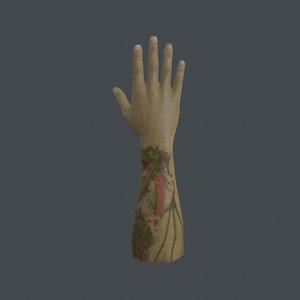 rigged right hand 3D model