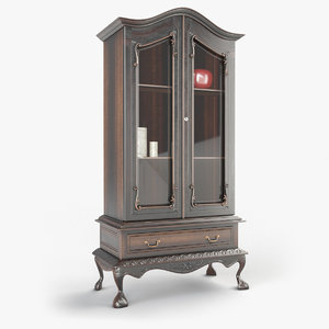 antique chippendale cabinet 3D model