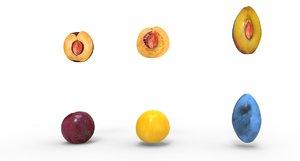 plum fruit food 3D model