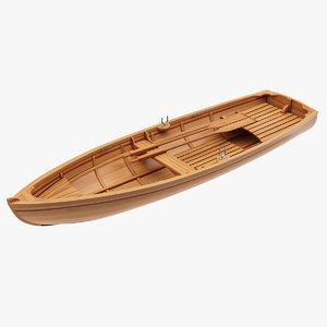 wooden rowboat 3D