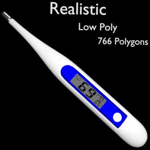 3D model realistic digital thermometer
