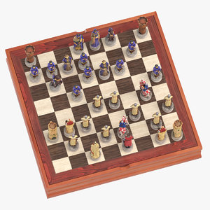 3D chess board set 01 model