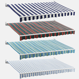 3D model set striped awnings