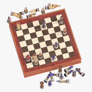 3D model chess board set 01