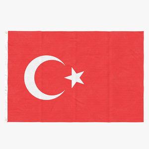 3D flag laying pose turkey