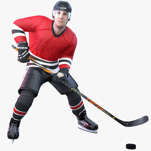 3D rigged pbr hockey player model