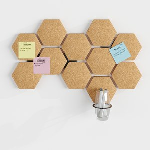 3D hexagonal cork board model