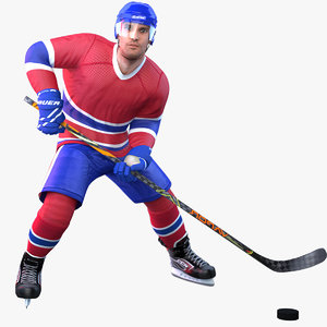 rigged pbr hockey player 3D model