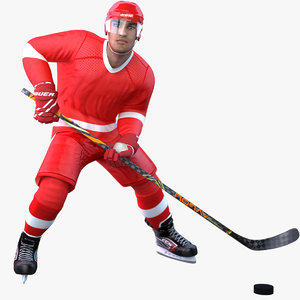 rigged pbr hockey player 3D