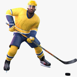 3D rigged pbr hockey player