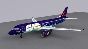 3D airbus a320 brussels airlines model