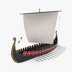 3D longship viking ship